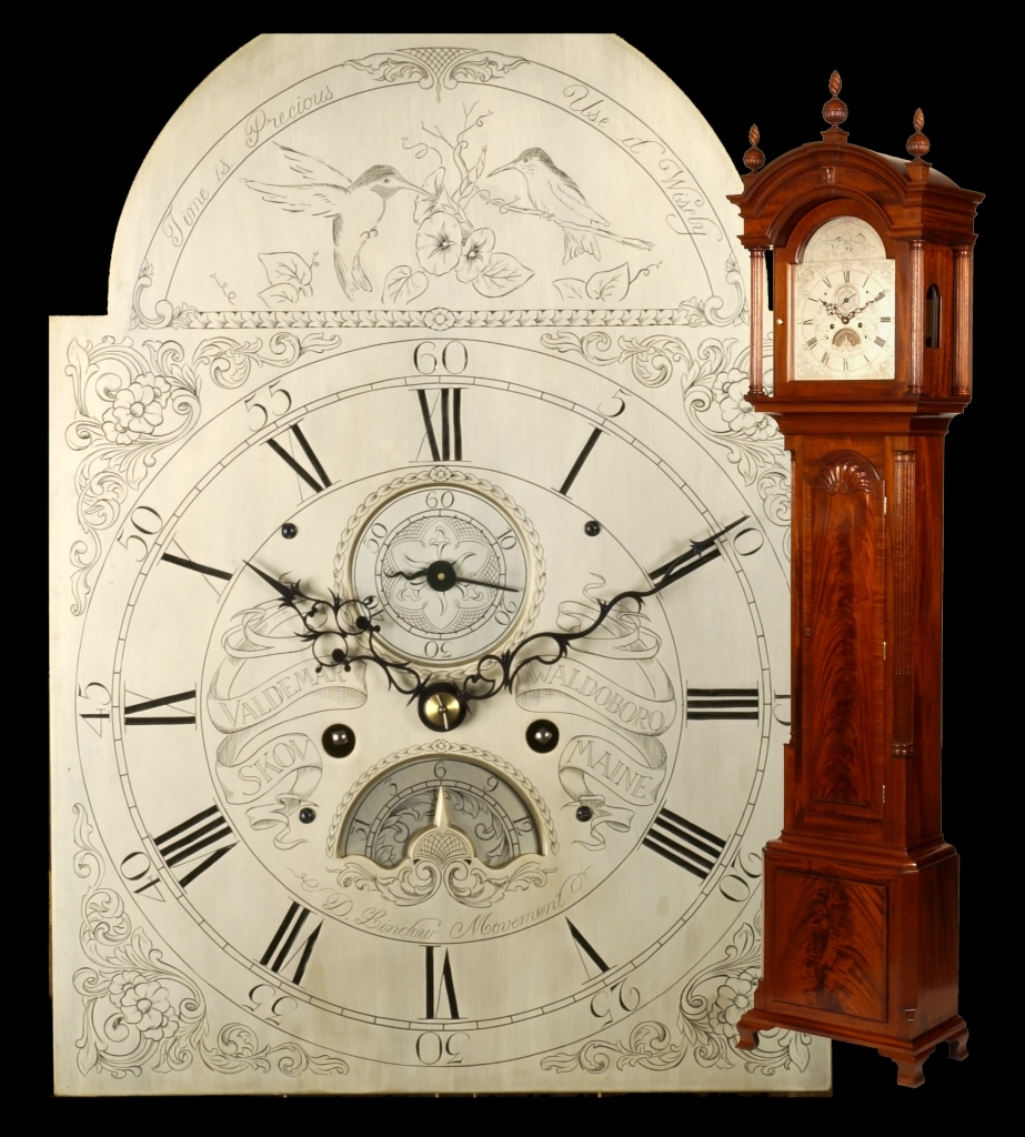 John Townsend Newport syle tall <br>case clock; 102 in. high, <br>mahogany, hand engraved single<br> sheet dial.